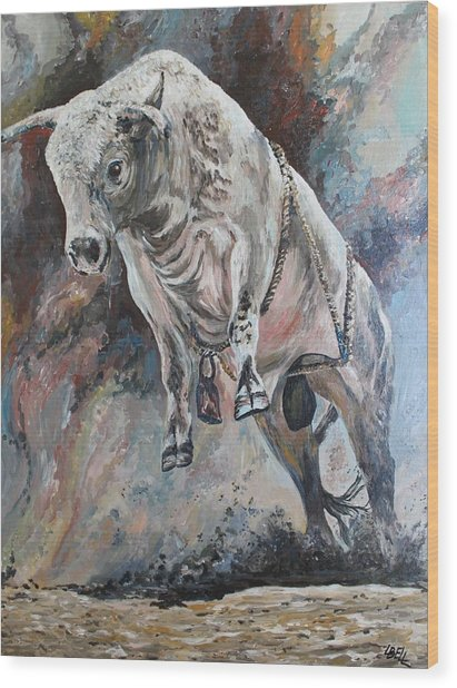 Power Of The Bull Wood Print by Leonie Bell