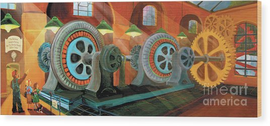 Power Plant Turbines Wood Print