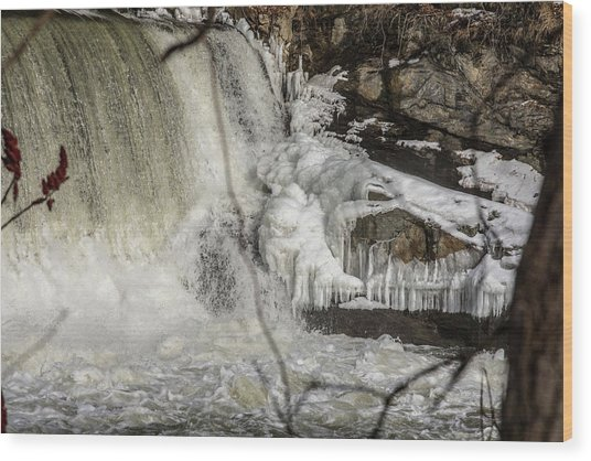 Power Station Falls On Black River  Wood Print