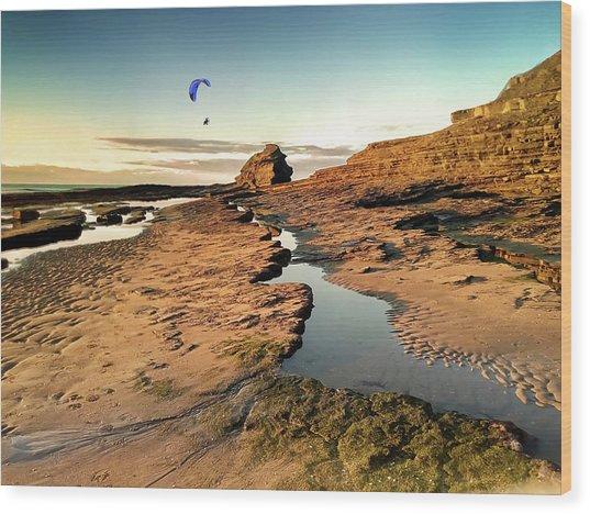 Powered Paraglider Over Bundoran Main Beach At Sunset Wood Print