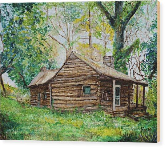 Antique Old Cabin Wood Print