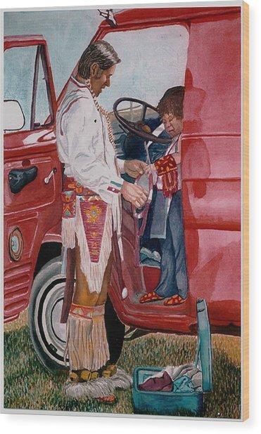 Powwow Family Wood Print by Sam Vega