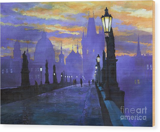 Prague Charles Bridge Sunrise Wood Print