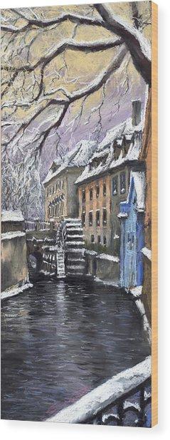 Prague Chertovka Winter Wood Print