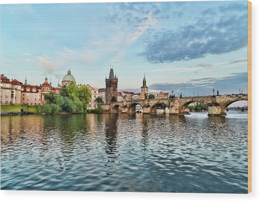 Prague From The River Wood Print