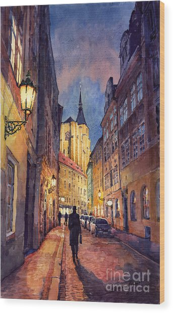 Prague Husova Street Wood Print
