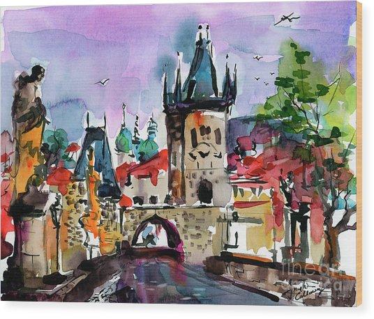 Prague Impressions Cobblestone Street Wood Print