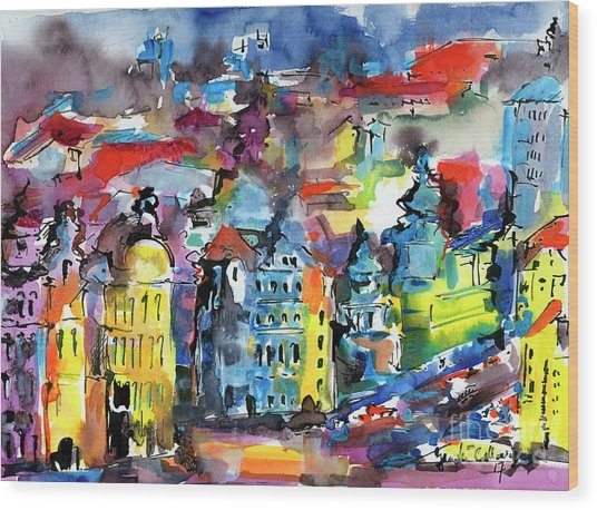 Prague Impressions Modern Watercolor And Ink Wood Print