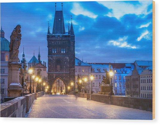 Prague In Blue Wood Print