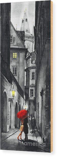 Prague Love Story Wood Print