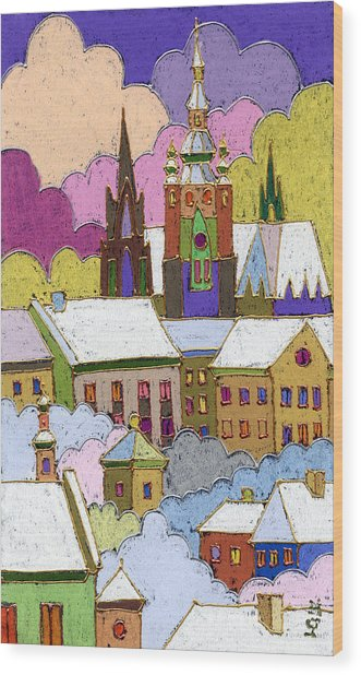 Prague Old Roofs Prague Castle Winter Wood Print