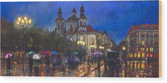 Prague Old Town Square St Nikolas Ch Wood Print