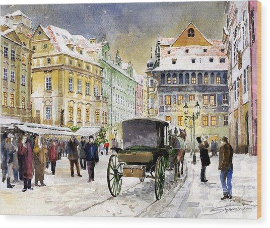 Prague Old Town Square Winter Wood Print