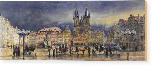 Prague Old Town Squere After Rain Wood Print