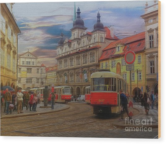 Prague, Old Town, Street Scene Wood Print