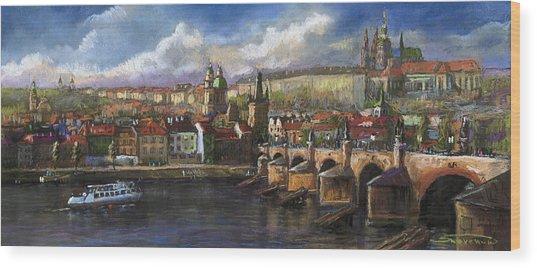 Prague Panorama Charles Bridge Prague Castle Wood Print
