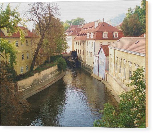 Prague River Scene Wood Print
