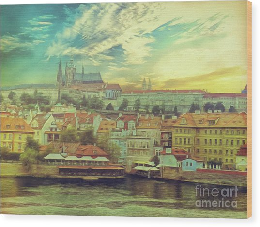 Prague Riverview Wood Print