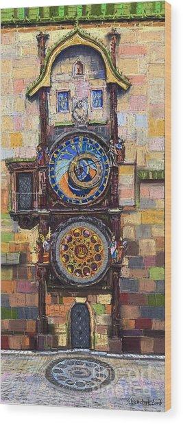 Prague The Horologue At Oldtownhall Wood Print