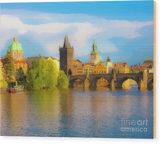Praha - Prague - Illusions Wood Print