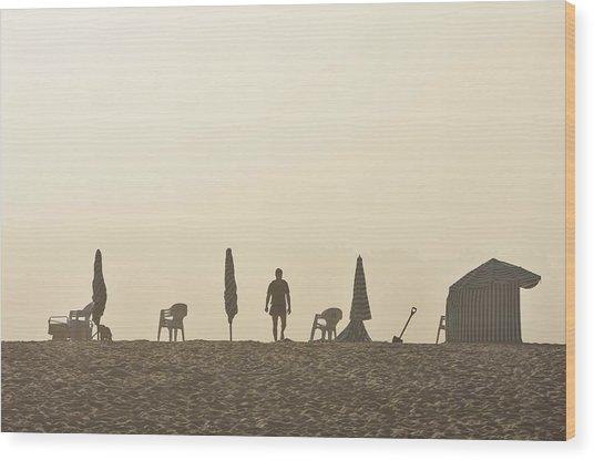Misty Beach Wood Print