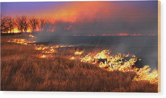 Prairie Burn Wood Print