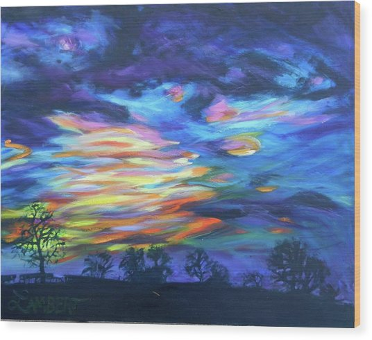 Prairie Fireworks 3 Wood Print