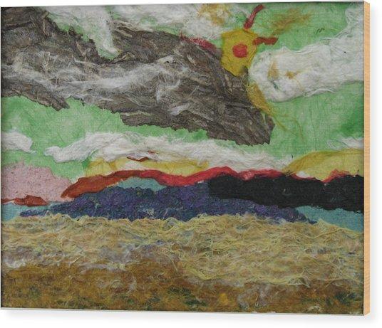 Prairie Harvest Sky Wood Print by Naomi Gerrard