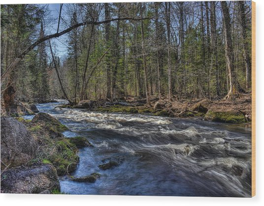 Prairie River White Riffles Wood Print