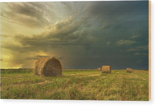 Prairie Storms Wood Print by Stuart Deacon