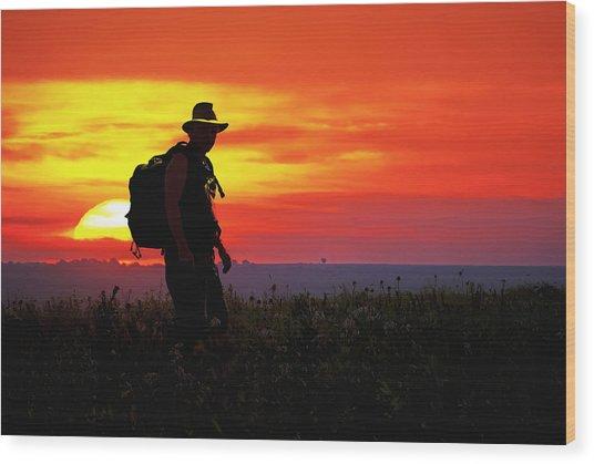 Prairie Sundown Wood Print by Keith Bridgman