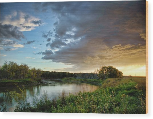 Prairie Sunset Wood Print