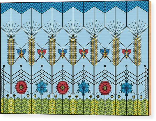 Prairie Wheat Wood Print by Vlasta Smola