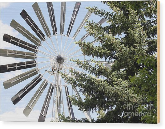 Prairie Windmill Wood Print