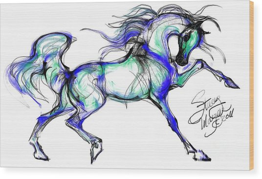 Prancing Arabian Horse Wood Print