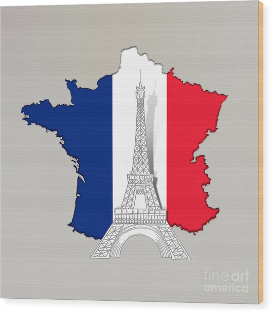 Pray For Paris Wood Print