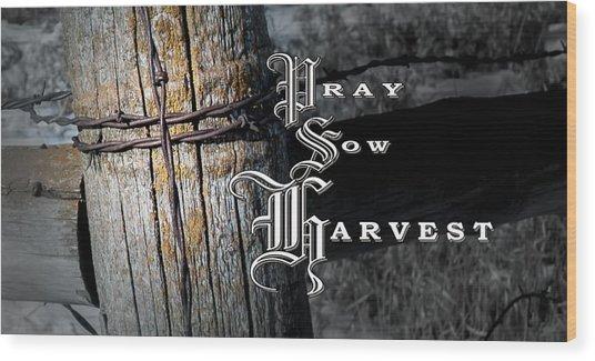 Pray Sow Harvest Wood Print