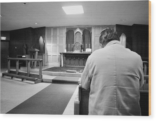 Prayer Before Mass Wood Print