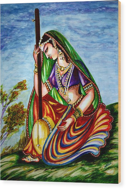 Krishna - Prayer Wood Print