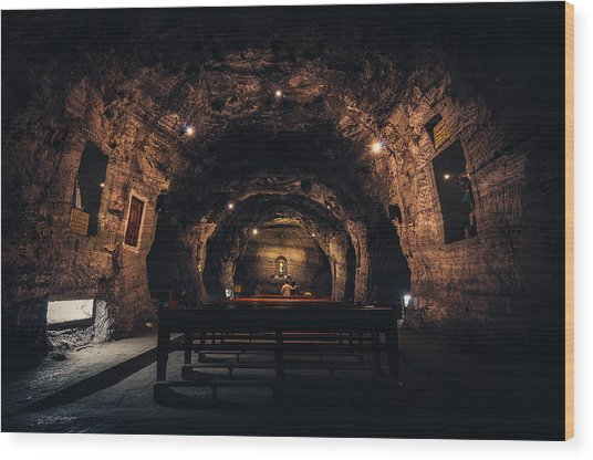 Prayer In The Mines Wood Print