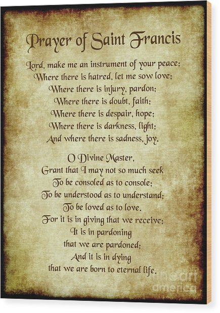 Prayer Of St Francis - Antique Parchment Wood Print