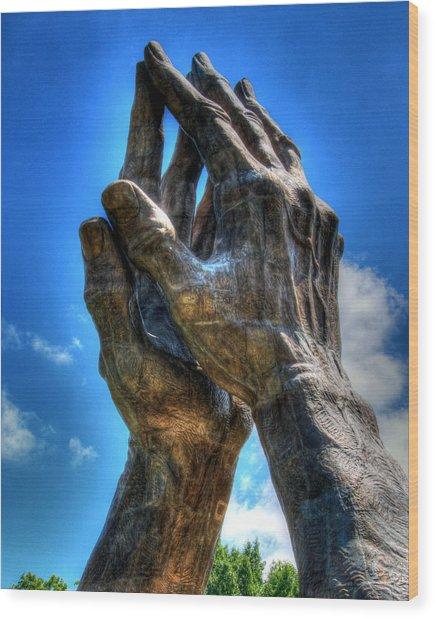 Praying Hands Sculpture Wood Print by Ann Higgens
