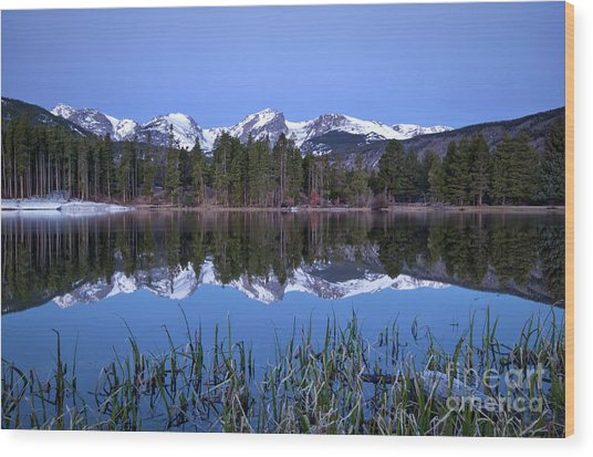 Pre Dawn Image Of The Continental Divide And A Sprague Lake Refl Wood Print