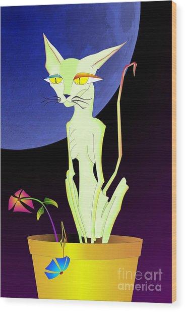 Precious The Cat Wood Print