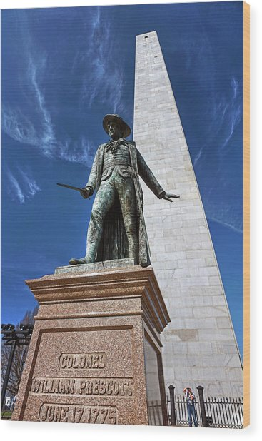 Prescott Statue On Bunker Hill Wood Print