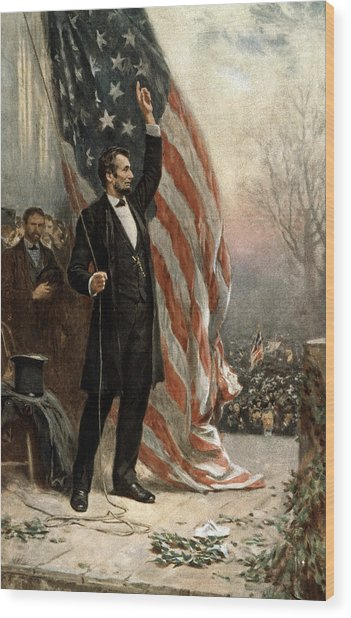 President Abraham Lincoln - American Flag Wood Print
