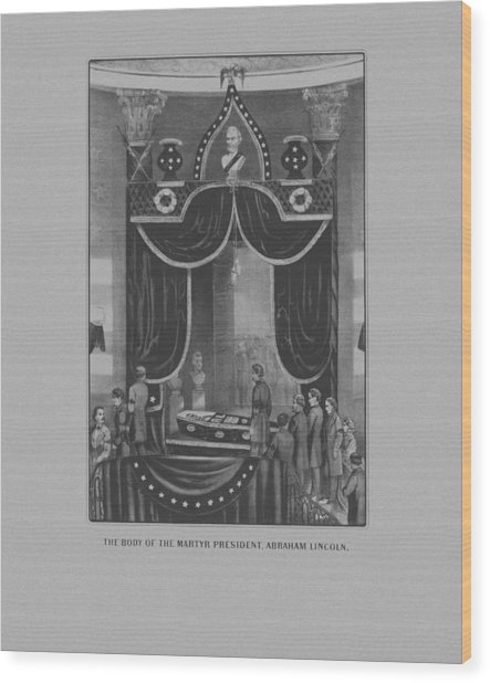 President Abraham Lincoln Lying In State Wood Print