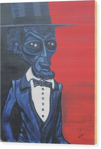 President Alienham Lincoln Wood Print