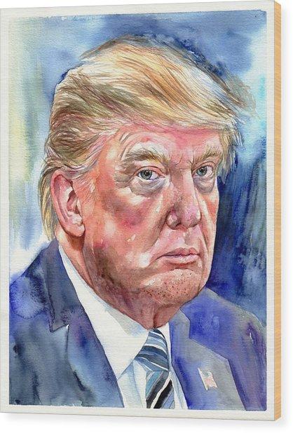 President Donald Trump Wood Print