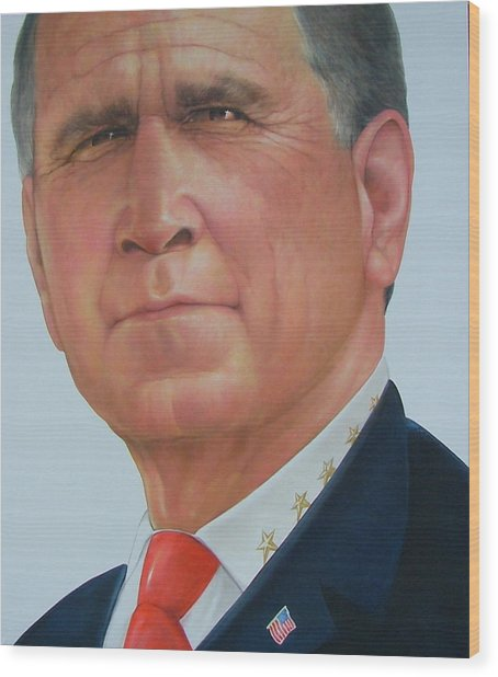 President George W. Bush Wood Print by Gary Kaemmer